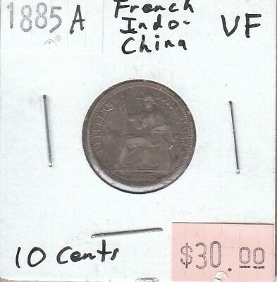 French Indo-China 10 Cents 1885A VF Very Fine