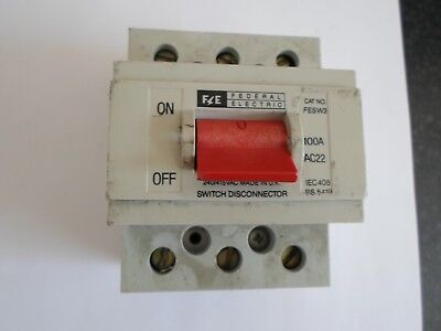 Federal Electric 100 Amp Fesw3 100 Amp Triple Pole Switch Disconnector