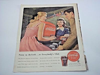 1948 Vintage Coca-Cola Coke Ad Everybody's club / Chesterfield Cigarettes Club