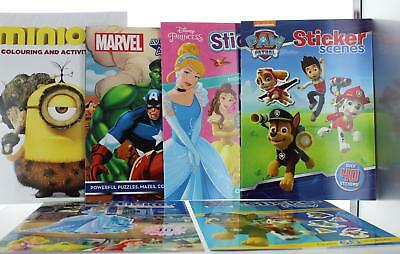 Kids Sticker Activity Books Choice of 6 Books Paw Patrol, Avengers, Disney, Fun