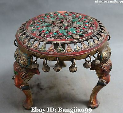 "9"" Old Chinese Bronze Turquoise Coral Gem Faqi Phurba Tablet Chair Base Statue"