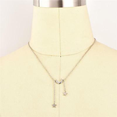 Silver Gold Plated  Womens Moon Star Pendant Necklace Y