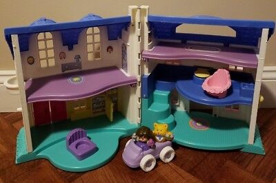 Vintage 1996 Fisher Price Little People Doll House W Girl Cat