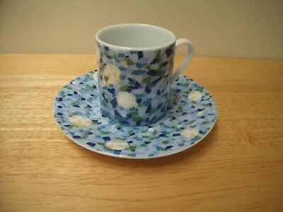 """Barcelona Spain Gaudi Park Guell Blue Mosaic Tile Expresso Coffee 2"""" Cup Saucer"""