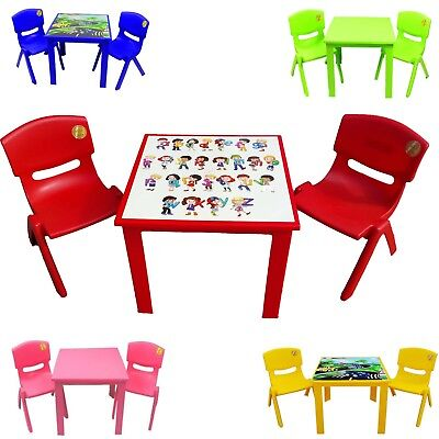 Strong Kids Children Plastic Table Study & Stackable Chair Nursery Outdoor Set