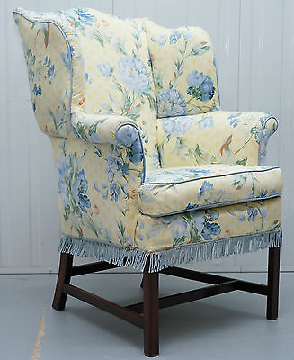 George Iii Chippendale Style Victorian Wingback Armchair Floral Upholstery
