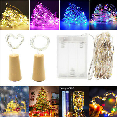 10-100 LED String Battery Operated Copper Bottle Wire Fairy Cork Lights Party