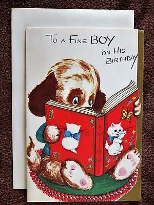 Vintage Birthday Card UNUSED Childs To Boy Cute Puppy Reading Book About Kittens