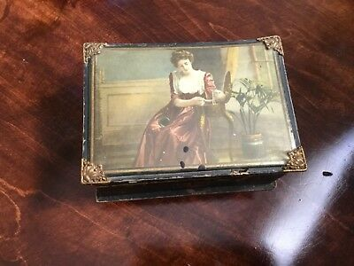 Antique Victorian cardboard jewelry box, celluloid top? Brass corners, OLD
