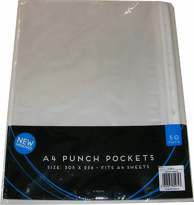 50 A4 Good Quality Plastic Punch Pockets / Sleeves / Pouches / Document Wallets