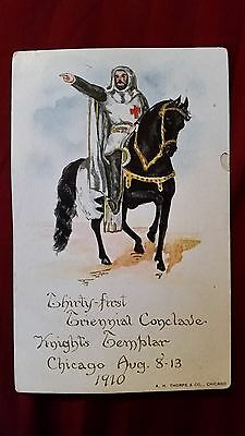 1910 31st Triennial Conclave Chicago IL Knight on a horse Postcard