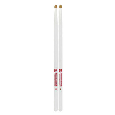 Pair of HUN 7A Drum Sticks Hickory Drumsticks Wood Tips White Painted Sticks