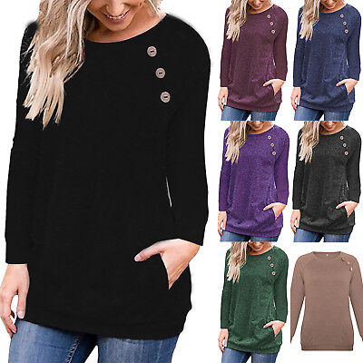 Womens Casual Long Sleeve Pullover Sweater Button Sweatshirt Jumper Tops Winter
