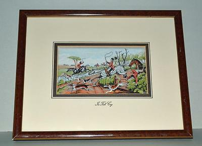 Old Cashs Silk Picture ' In Full Cry ' Framed.