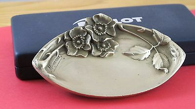 Beautiful M. Migneau Signed Bronze Dish With Flowers  JZ-0261