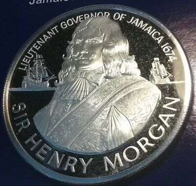 1974, Jamaican $10 Sir Henry Morgan Sterling Silver Proof Low Mintage Coin!!! C8