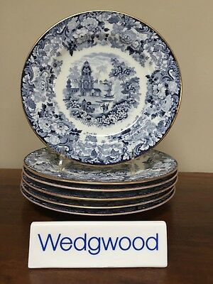 Antique Wedgwood CHINESE BLUE Etruria Luncheon Plates ~ Set of 6