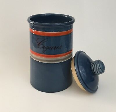 Baldelli Signed Mid Century Humidor Jar Cigar Canister Blue Ceramic Marked Italy