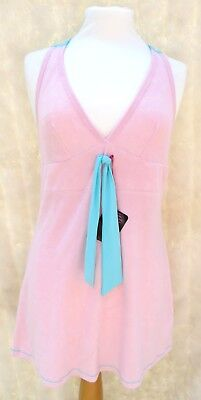Baby Pink soft towelling Halterneck beach swimsuit Bikini cover up Mini Dress 10