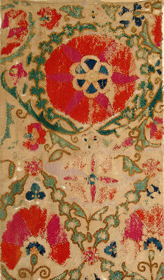 Early Old Uzbek Bukhara Silk Embroidered Suzani Fragment