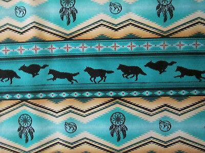 Navajo Native American Totem Wolf Drm Border Teal Blk Cotton Fabric 8 Inch Cut