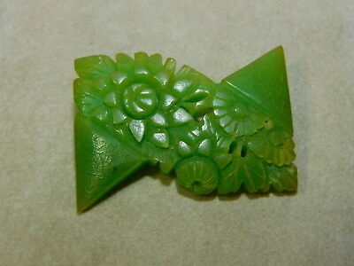 Vintage Art Deco Bakelite Plastic Green Carved Floral Flower Brooch 10f 95