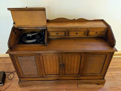 Vintage Wood Cabinet with built-in vinyl record player