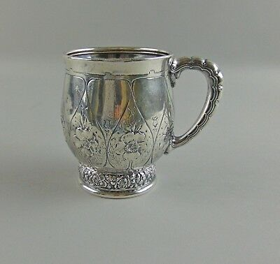 Antique Tiffany&Co Sterling Silver 6352/3092 REPOUSSE Floral Baby/Childs Mug Cup