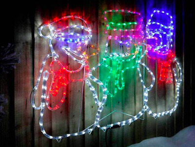Large Outdoor Christmas Decorations.Large Outdoor Christmas Decorations Animated Snowman Family Led Rope Light 105cm
