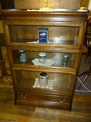 Antique bookcase Oak Stacking Lawyers quartered refinished Humphreys Widman 1900