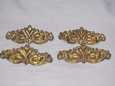 4-Vintage Antique Brass Ornate Pull Dresser Drawer Cabinet Pulls