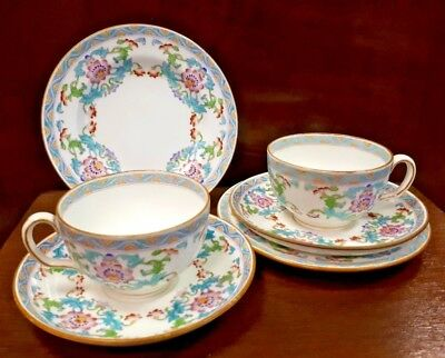 Very Special MINTON Hand Enamelled Pair of Tea Trio B833 c1910 Turquoise & Pink