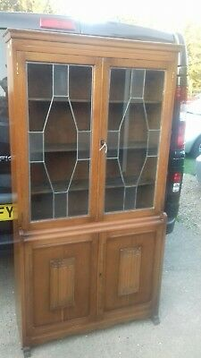 1920/30s Oak Bookcase With Leaded Glass