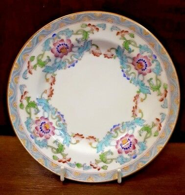 Antique MINTON Hand Enamelled Replacement Tea Plate B833 c1910 Turquoise & Pink