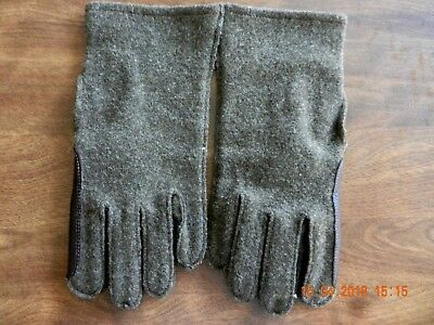 Vintage H & P Glove Co., Military Men's Olive Wool & Leather Gloves, Size 9
