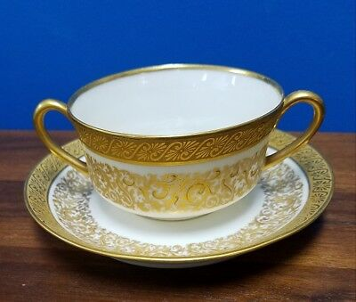 M.REDON Limoges France Vintage Gold accent boullion cup and saucer