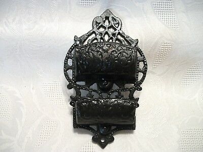 Vintage Ornate Cast Iron Wall Mounted Double Match Stick Holder