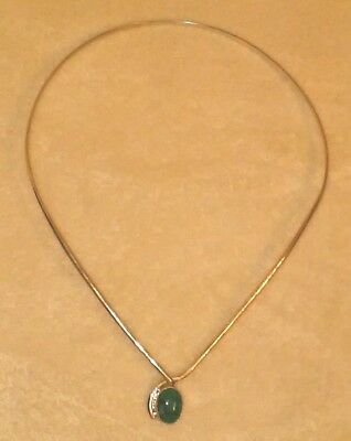 Sterling Silver 925 Women's Choker Neckless with Green natural gemstone