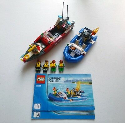 Lego 60109 Fire Boat City Set Minifigures 100 Complete Manual