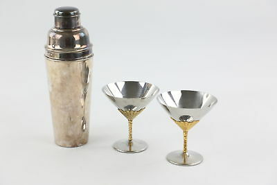 3 x Vintage SILVER PLATE Cocktail Shaker & Martini Glasses / Cups Inc. Elkington