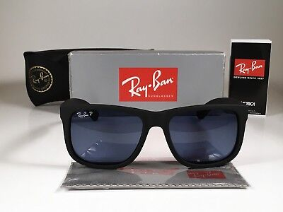 8c8b9312c27e2 New Ray-Ban POLARIZED Justin RB4165 622 2V 54MM Matte Black  Blue Tint