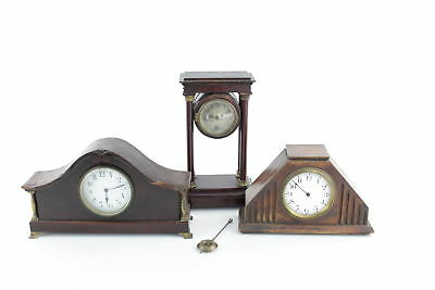 3 x Vintage Wooden Case Key & Hand-Wind Mantel Clocks Inc. 8 Day Clock REPAIRS