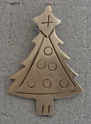 Sterling Silver Etched Christmas Tree Brooch Pin Pendant Signed Silver World