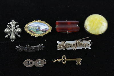 Lot of 8 x Antique/Vintage BROOCHES Mixed Designs inc Carved Carnelian Set