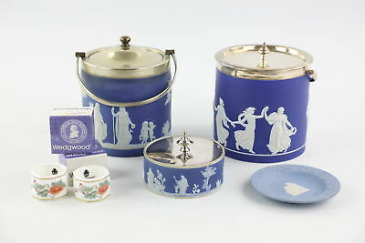 6 x Vintage WEDGWOOD & Silver Plate Inc. Biscuit Barrels/ Caddies Etc