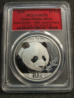2018 China 10 Yuan 30g 999 Chinese Silver Panda PCGS MS70 First Strike RED 35th