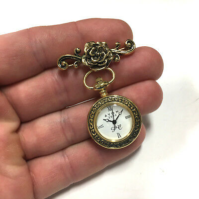 Vtg AVON VICTORIAN Style Antique Floral Rose Bar Pin Brooch Dangle WATCH HH61i