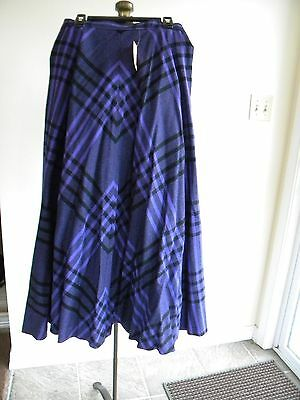 Vintage 1980s Evan Picone Women's Wool Lined Skirt Size 8 Purple and Black