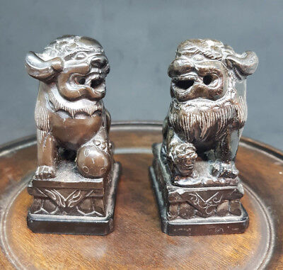 Pairs Antique Chinese Black Soapstone Foo Dogs Asian