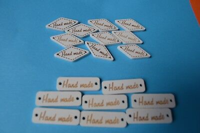 Hand Made Wood Tag Label Buttons Scrapbooking Embellishment 2 Styles Quilt Cute